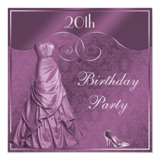 Glamorous Purple Ball Gown 20th Birthday Party Card