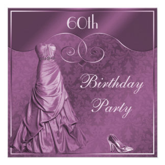 Glamorous Purple Ball Gown 60th Birthday Party Custom Announcement