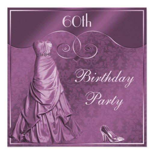 Glamorous Purple Ball Gown 60th Birthday Party Custom Announcement