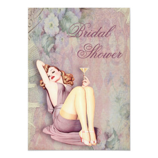 Glamorous Retro Pin Up Girl Bridal Shower Card