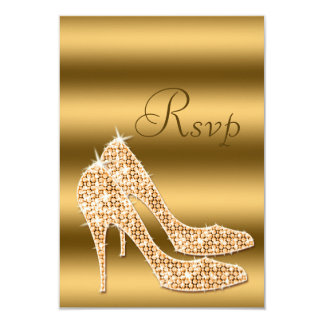 Glamorous RSVP Gold Stilettos Card