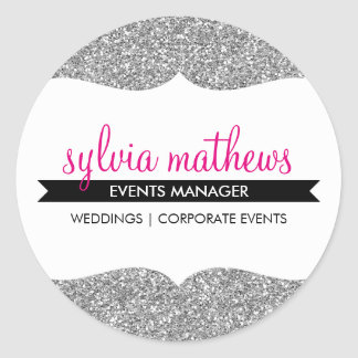 GLAMOROUS SEAL stylish glitter sparkle silver pink Round Sticker