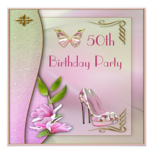 Glamorous Shoes Magnolia & Butterfly 50th Birthday Personalized Invite