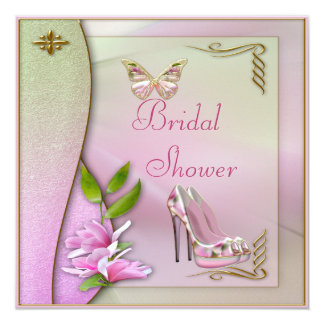 Glamorous Shoes Magnolia & Butterfly Bridal Shower Card