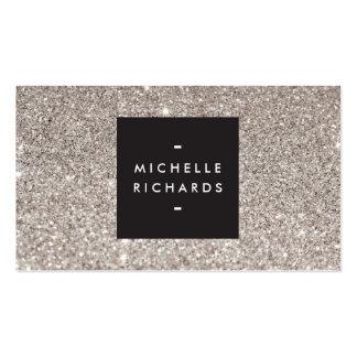 Glamorous Silver Glitter Modern Beauty Business Card