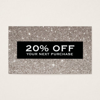 Glamorous Silver Glitter Modern Beauty Coupon Card