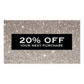 Glamorous Silver Glitter Modern Beauty Coupon Card Pack Of Standard Business Cards