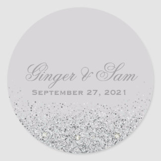 Glamorous Silver Glitter Wedding Stickers