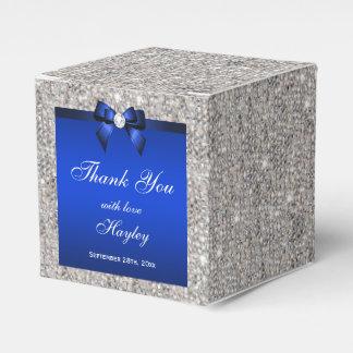 Glamorous Silver Sequins Blue Bow Diamond Favour Boxes