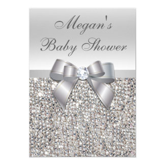 Glamorous Silver Sequins Bow Baby Shower 13 Cm X 18 Cm Invitation Card