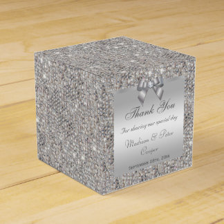 Glamorous Silver Sequins Bow Diamond Favour Box
