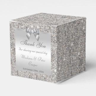 Glamorous Silver Sequins Bow Diamond Party Favour Box