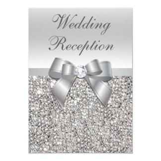 Glamorous Silver Sequins Bow Wedding Reception Card