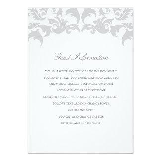 Glamorous Silver Wedding Insert 11 Cm X 16 Cm Invitation Card