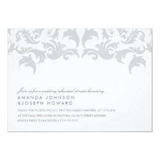 Glamorous Silver Wedding Rehearsal Dinner Invite