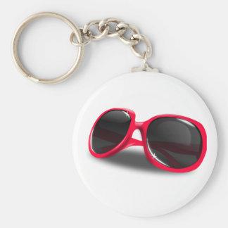Glamorous Sunglasses Basic Round Button Key Ring