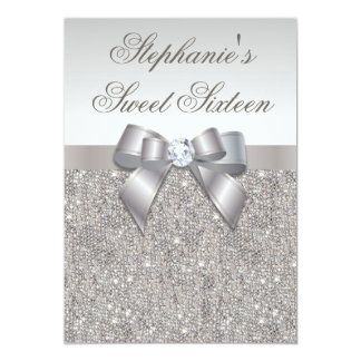 Glamorous Sweet 16 Faux Silver Sequins and Bow 13 Cm X 18 Cm Invitation Card