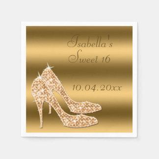 Glamorous Sweet 16 Gold Stilettos Napkins Disposable Serviette