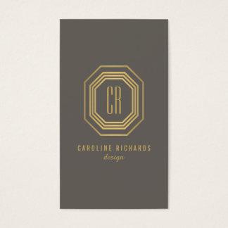 Glamorous Vintage Art Deco Monogram Gold/Gray Business Card