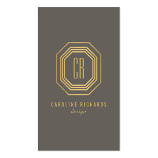Glamorous Vintage Art Deco Monogram Gold/Gray Pack Of Standard Business Cards