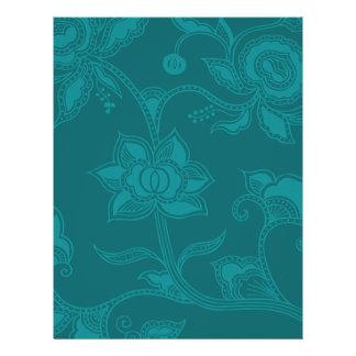 Glamorous Vintage Floral Elegant Teal Turquoise 21.5 Cm X 28 Cm Flyer