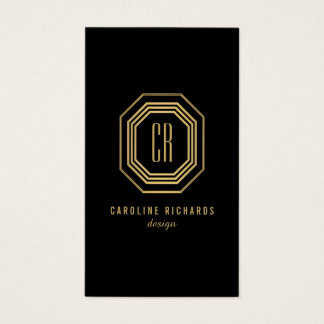 Glamorous Vintage Gold Art Deco Initials Monogram Business Card