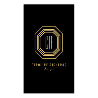 Glamorous Vintage Gold Art Deco Initials Monogram Pack Of Standard Business Cards
