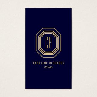 Glamorous Vintage Gold Art Deco Monogram Dk Blue Business Card