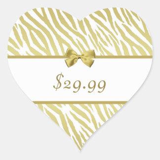 Glamorous White and Gold Zebra Print Price Tag