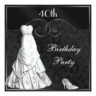 Glamorous White Gown Black Silver 40th Birthday 13 Cm X 13 Cm Square Invitation Card