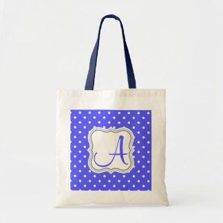 Glamour blue white polka dot monogram initial name tote bag