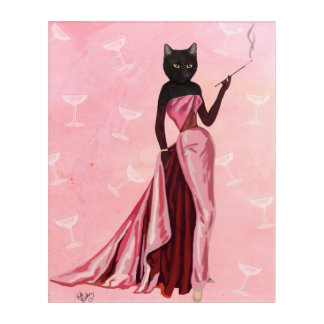 Glamour Cat in Pink Acrylic Wall Art