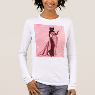 Glamour Cat in Pink Long Sleeve T-Shirt
