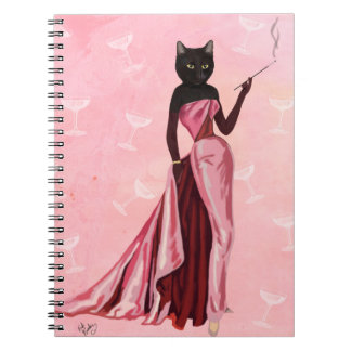 Glamour Cat in Pink Spiral Notebook