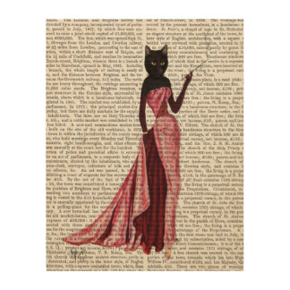 Glamour Cat in Pink Wood Print