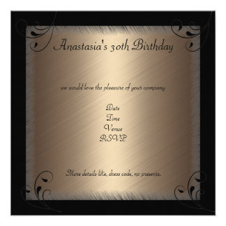 Glamour Coffee Black Floral Birthday Party Custom Invite