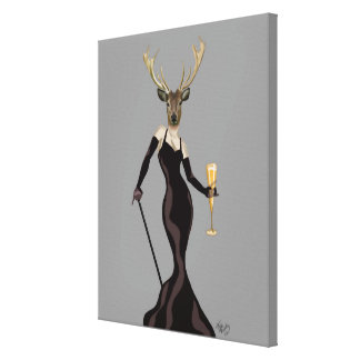 Glamour Deer in Black Canvas Print