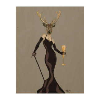 Glamour Deer in Black Wood Wall Decor