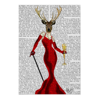 Glamour Deer In Red 2 Poster