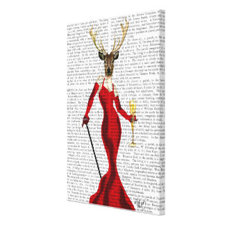 Glamour Deer In Red 4 Canvas Print