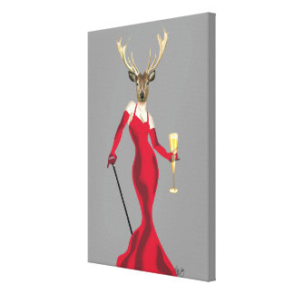 Glamour Deer in Red Canvas Print