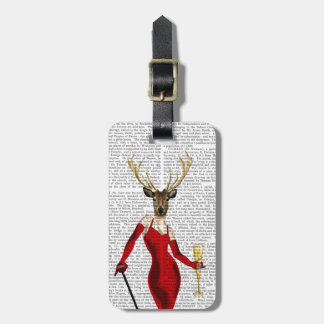 Glamour Deer In Red Luggage Tag
