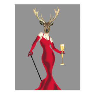 Glamour Deer in Red Postcard