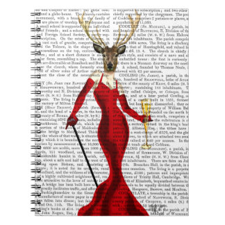 Glamour Deer In Red Spiral Notebook