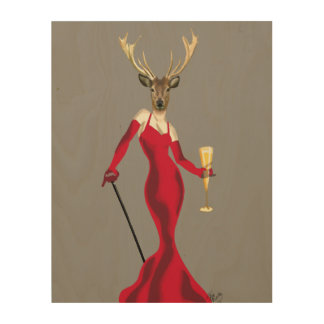 Glamour Deer in Red Wood Wall Art