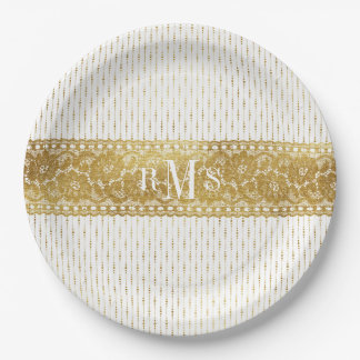 Glamour Fashion Golden Lace Monograms Paper Plate