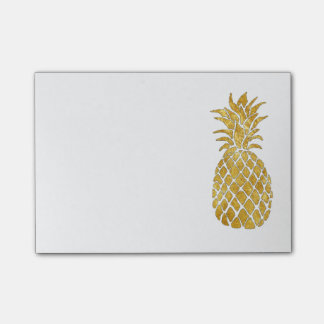 glamour faux gold foil pineapple post-it notes