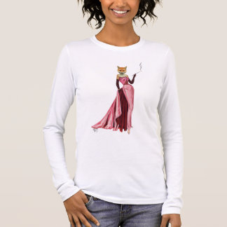 Glamour Fox in Pink Long Sleeve T-Shirt