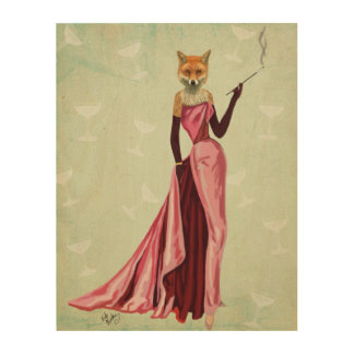Glamour Fox in Pink Wood Wall Art