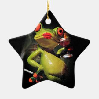 Glamour Frog Smoke Christmas Ornament